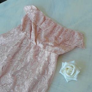 Strapless pink dress NWOT L